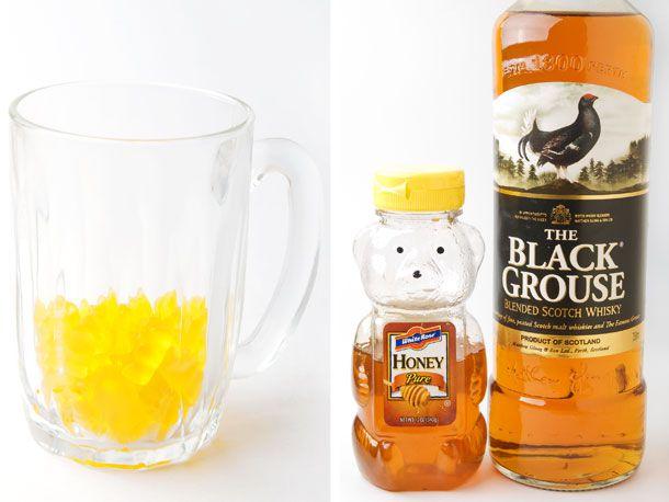 lemon gummy bears, whisky, and honey