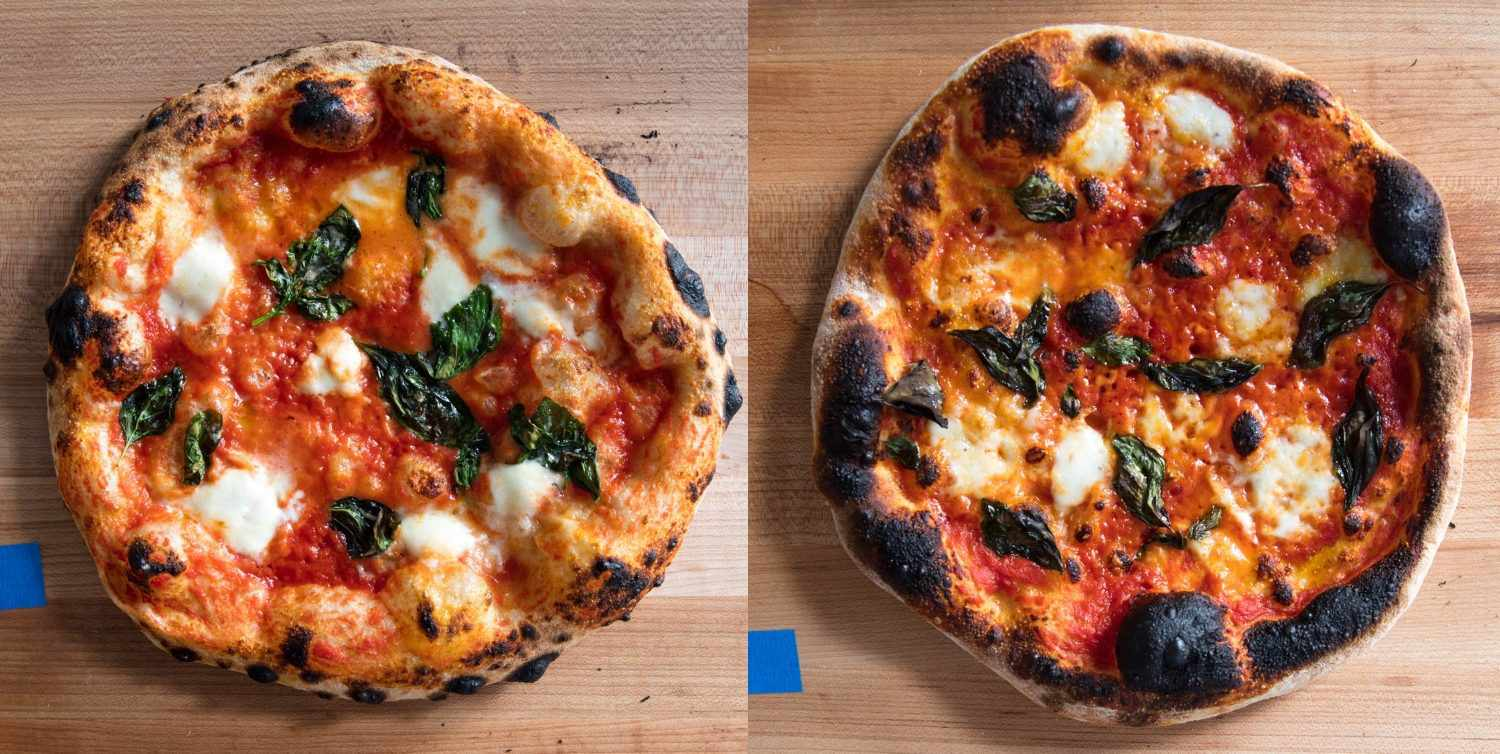 Comparison of a pizza baked in the Breville oven (on the left), and a pizza baked in a conventional oven (on the right).