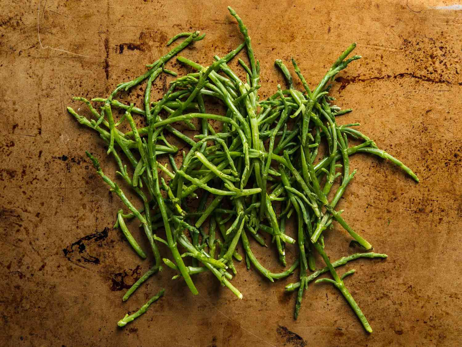 A pile of green sea beans (a.k.a. samphire or Salicornia), viewed from above