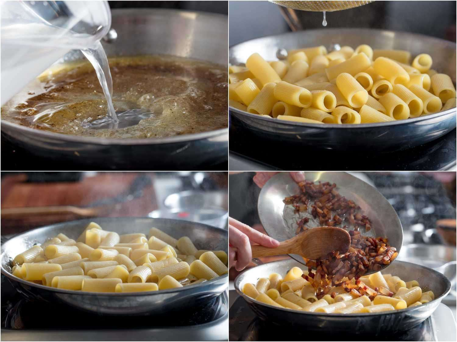 Process shots of building sauce emulsion and extended cooking of pasta in skillet