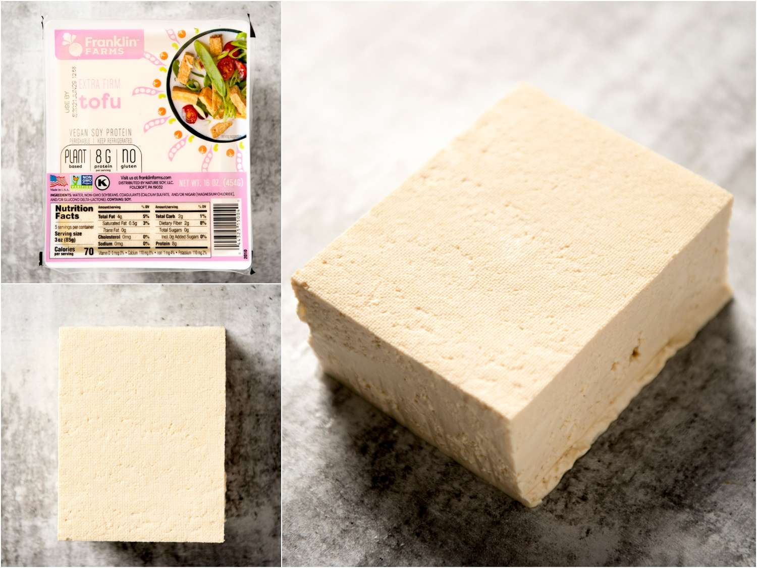 collage: extra firm block tofu in packaging; unpackaged; side angle