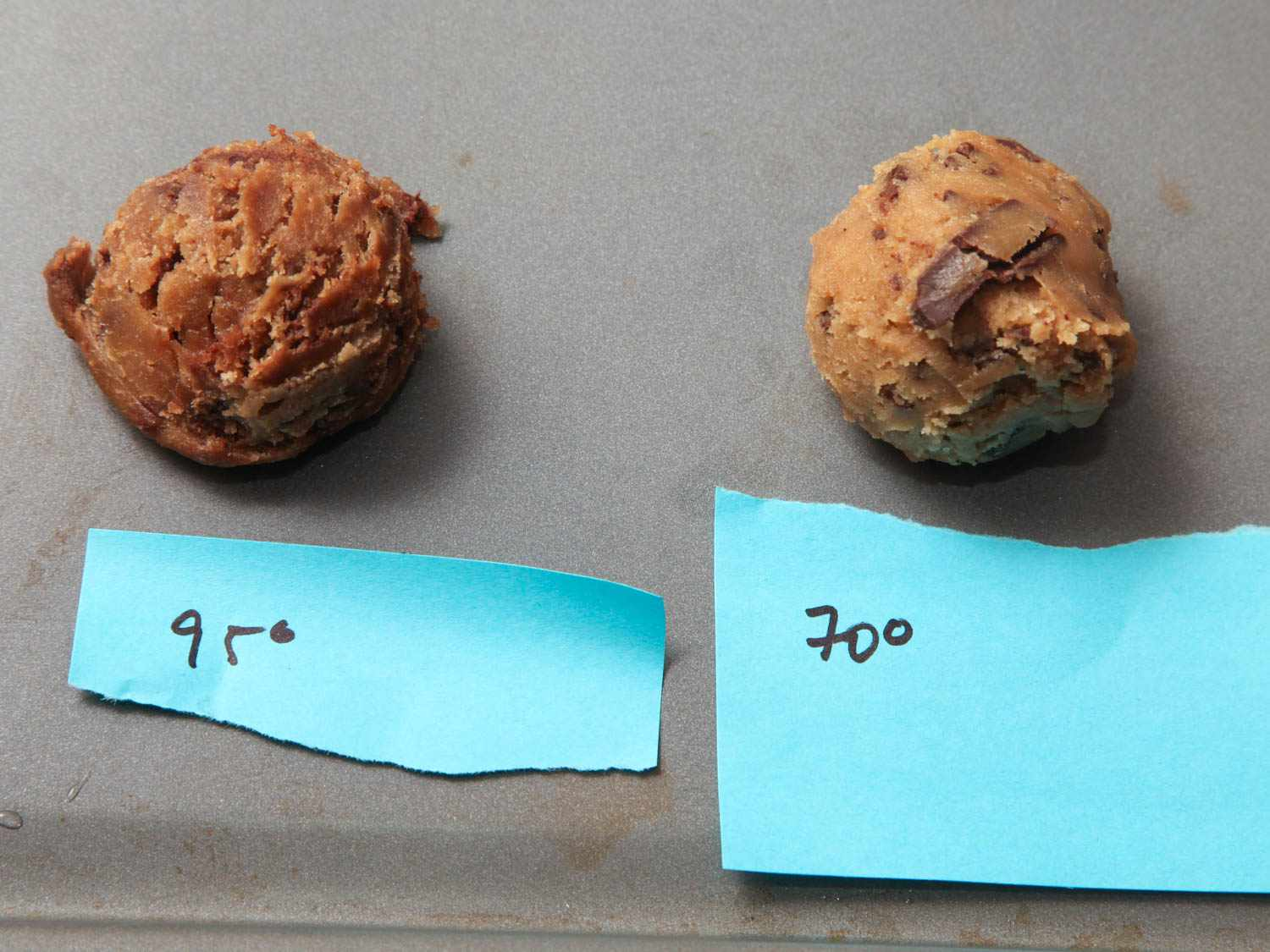 Side by side image of chocolate chip cookie dough showing the effect of mixing chocolate into dough heated to 95F (left) versus room temperature (right).