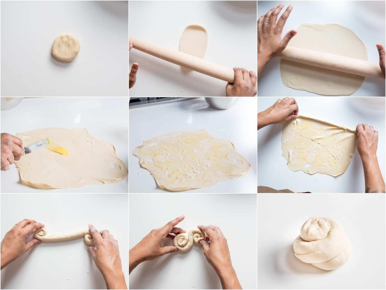 First roll of paratha dough, adding ghee and flour to paratha, coiling up paratha dough