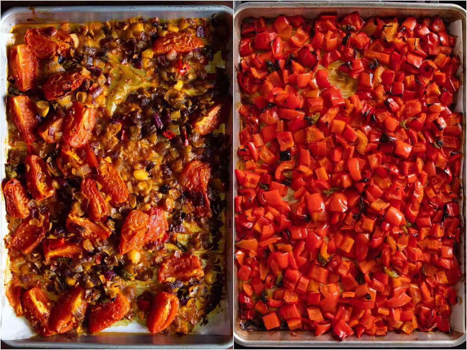 Some of obe ata's core ingredients, including red peppers, tomatoes, and onions, all diced up on baking sheets and roasted in the oven.