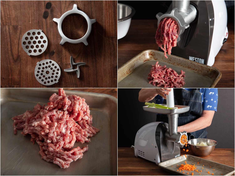 Weston meat grinder features: metal parts; grinding meat; ground pork; grinding mirepoix