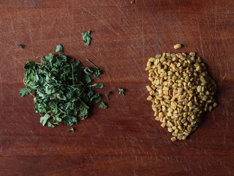 Side by side comparison of fenugreek leaves (left) and fenugreek seeds (right)