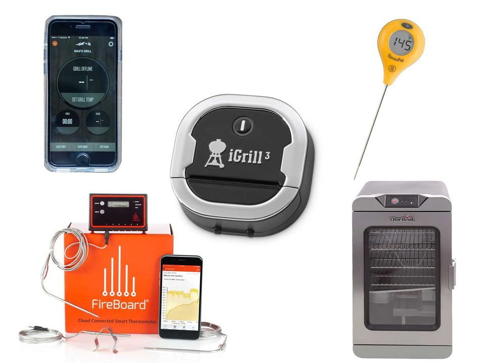 A collage of various high-tech grilling equipment: smartphone with grilling app, iGrill 3 digital thermometer, ThermoPop instant-read thermometer, FireBoard cloud-connected grilling thermometer, and Char-Broil digital electric smoker