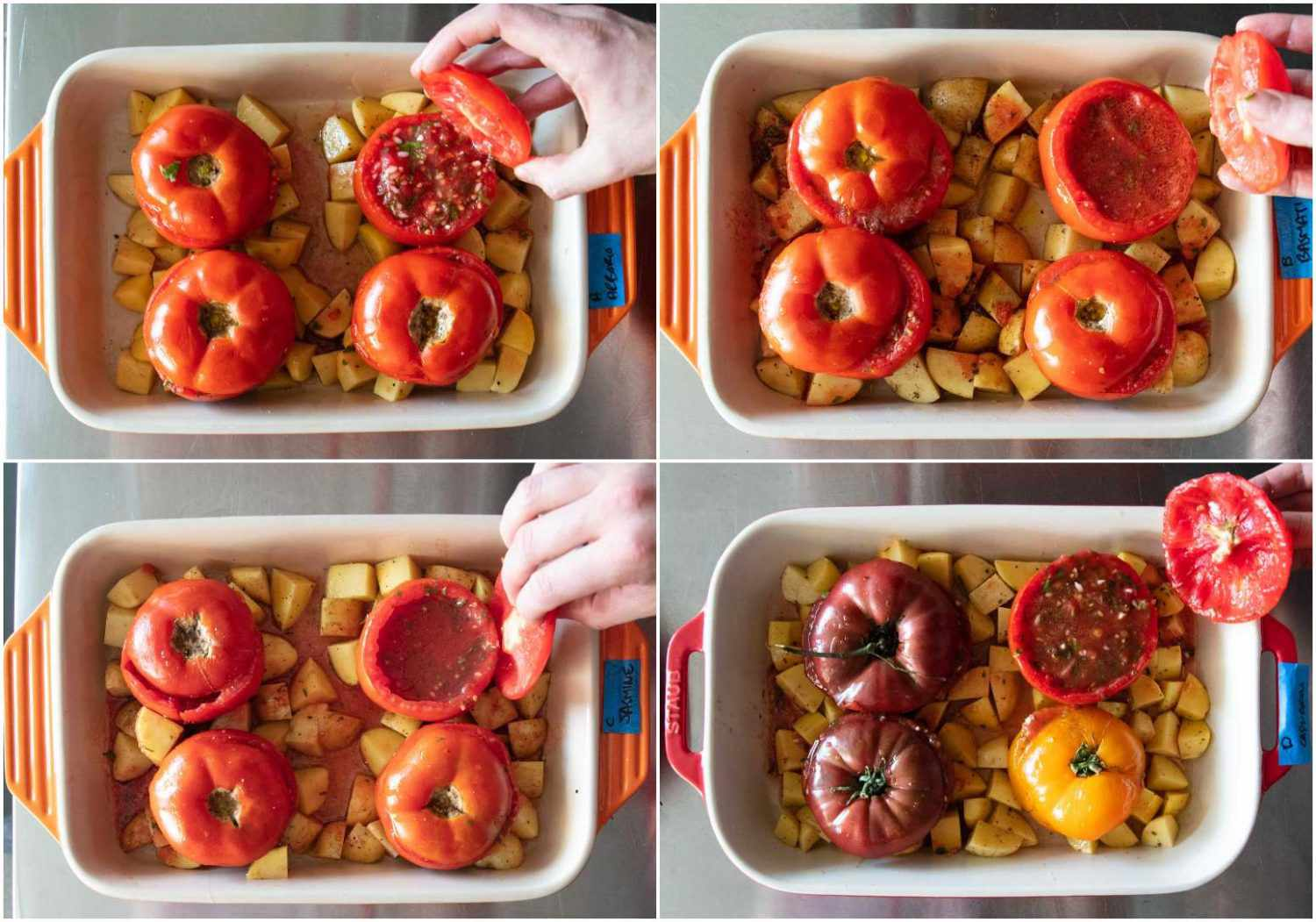 Photo collage of four different test batches of rice-stuffed tomatoes from the first round of recipe testing.
