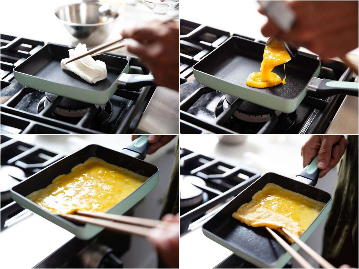 A series of 4 photographs showing the first steps for making tamagoyaki: lightly greasing the preheated pan with an oiled paper towel; adding just enough of the raw egg mixture to make a thin layer covering the entire bottom of the pan; then rolling that layer up toward the handle.