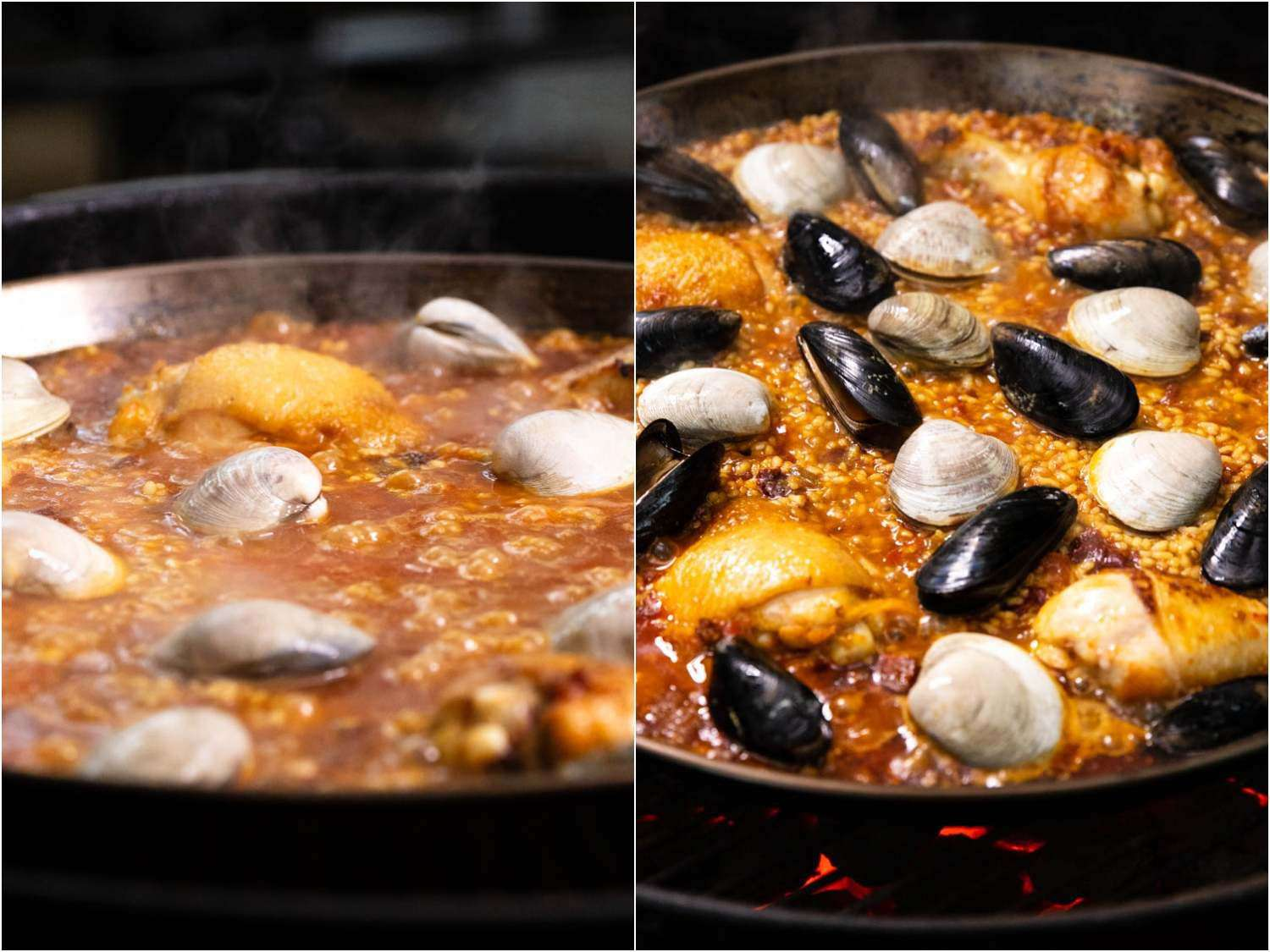 These two collaged photos show chicken, clams, and mussels being nestled together in a large paella.