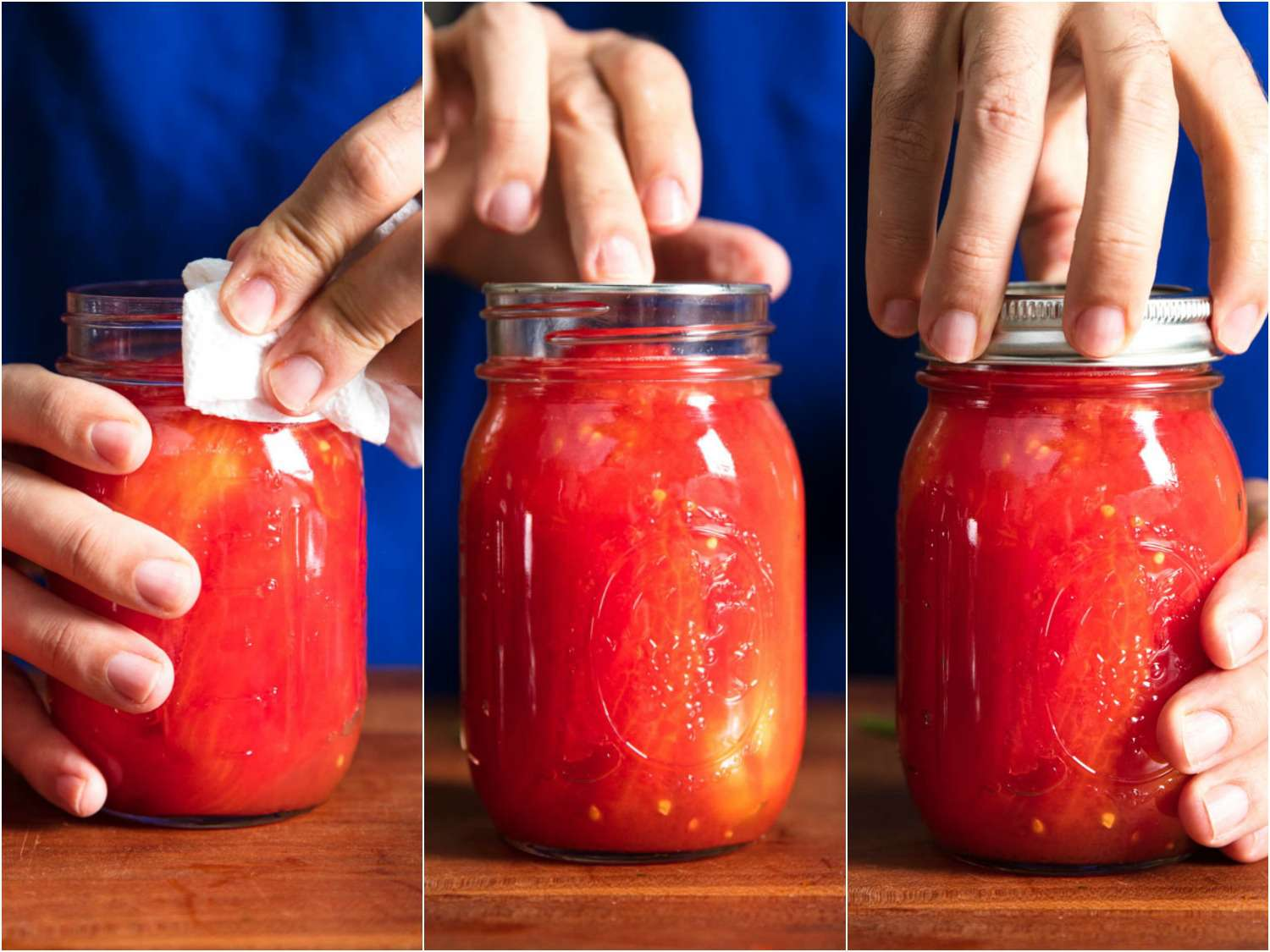 Collage of closing jars of tomatoes for canning: wiping rim of jar, placing lid on top, screwing on ring