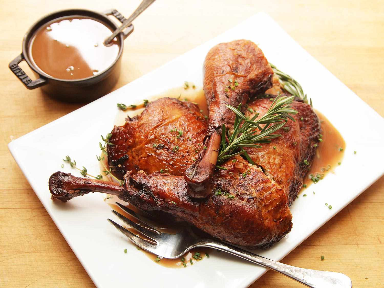 Red wine braised turkey legs.