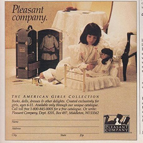 A page from the Pleasant Company catalog circa 1994, featuring a Samantha doll in a brass bed and her child owner