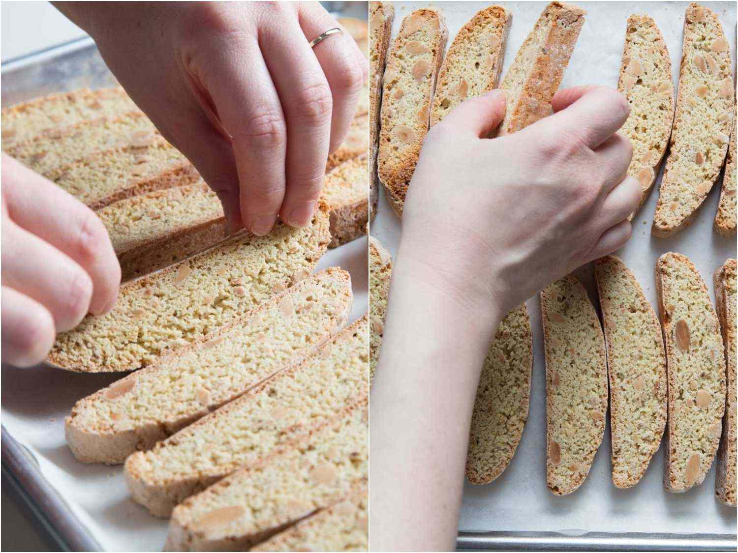 flipping the biscotti to bake the other side