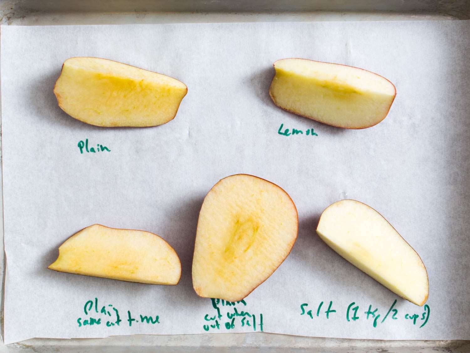Comparison of cut apples that have been treated differently in order to prevent browning.