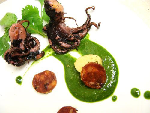Grilled Octopus Tentacles, Chorizo, Fingerling Potatoes, Green Almonds, and Salsa Verde
