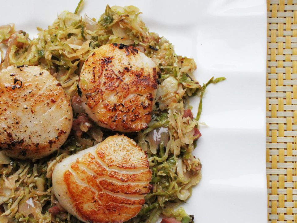 Seared Scallops with Pancetta and Brussels Sprouts