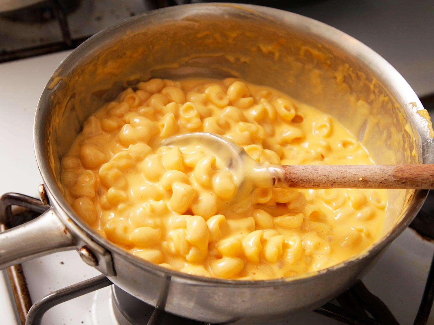 A pot of stovetop macaroni and cheese