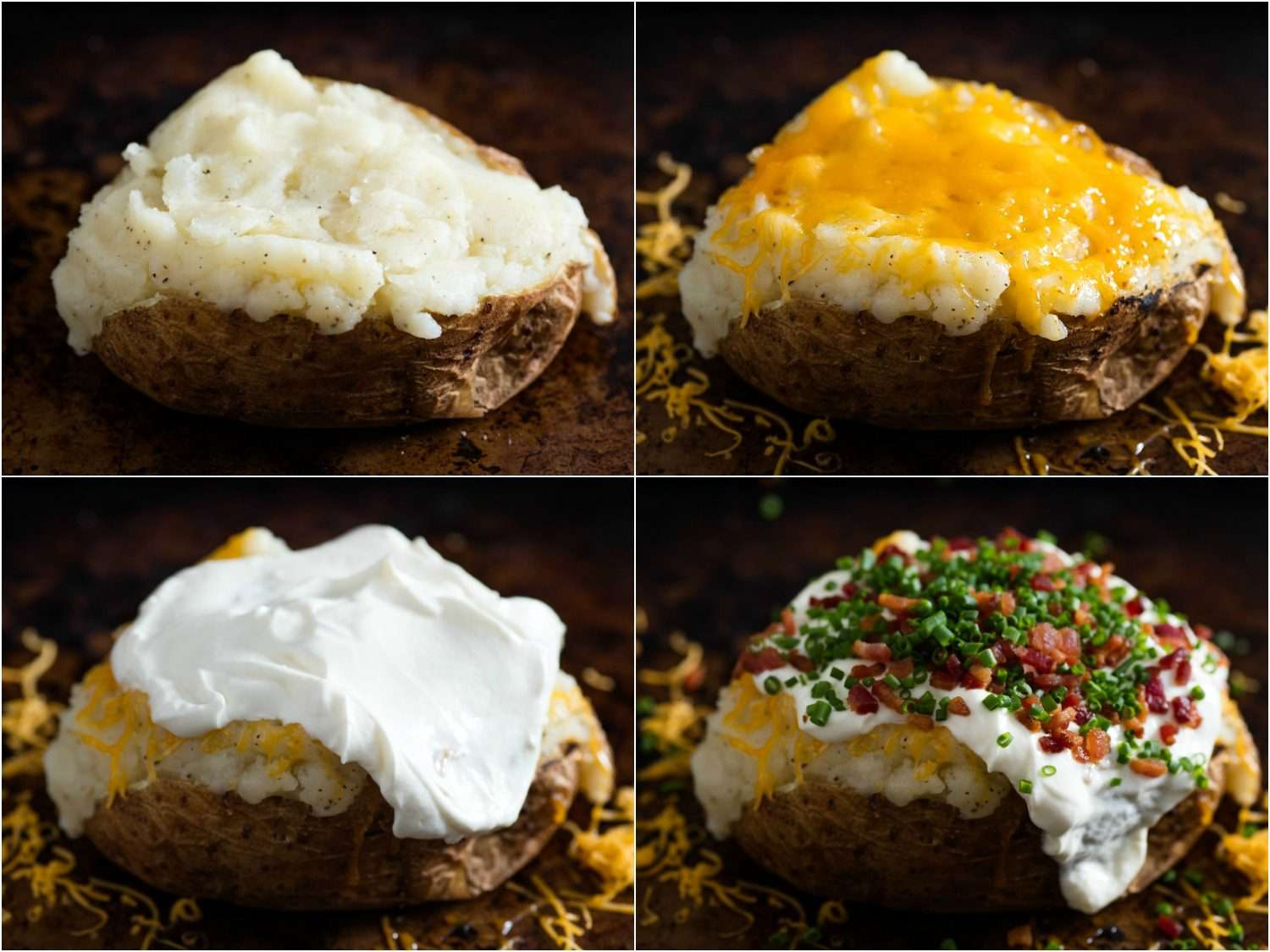 Photo split in four, showing stages of stuffing a baked potato with cheese, sour cream, bacon, and scallions.