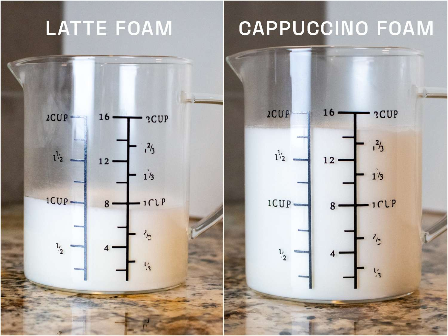 a side by side of the amount of foam produced using the Breville milk frother on the latte function vs the cappuccino function