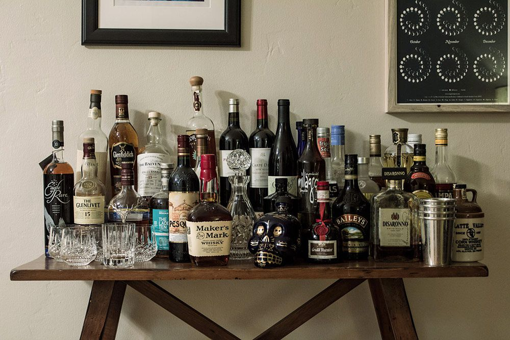 home bar collection of scotch
