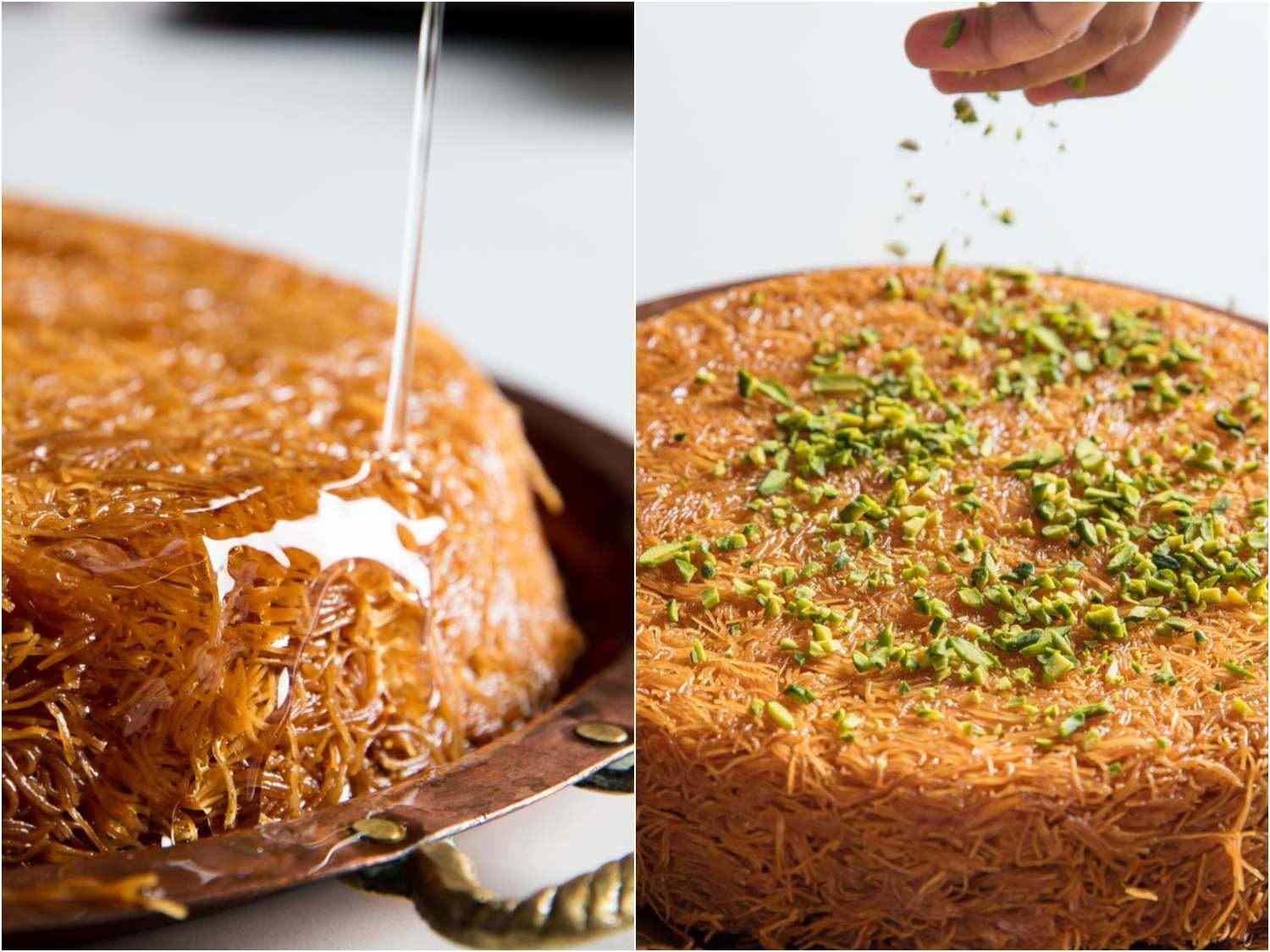 baked kanafeh, drizzled with syrup and sprinkled with chopped pistachios