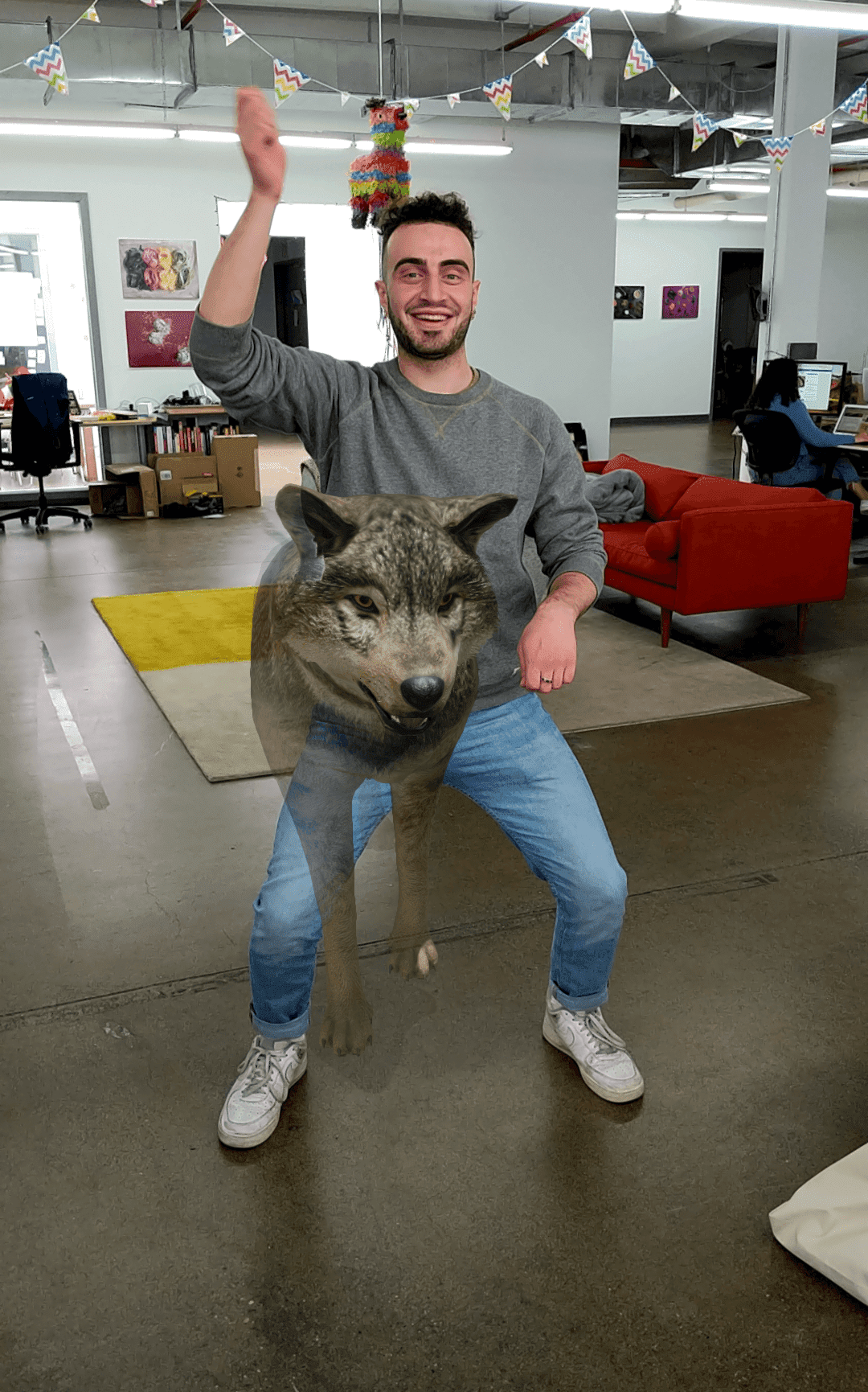 Elazar with an augmented reality wolf in his lap