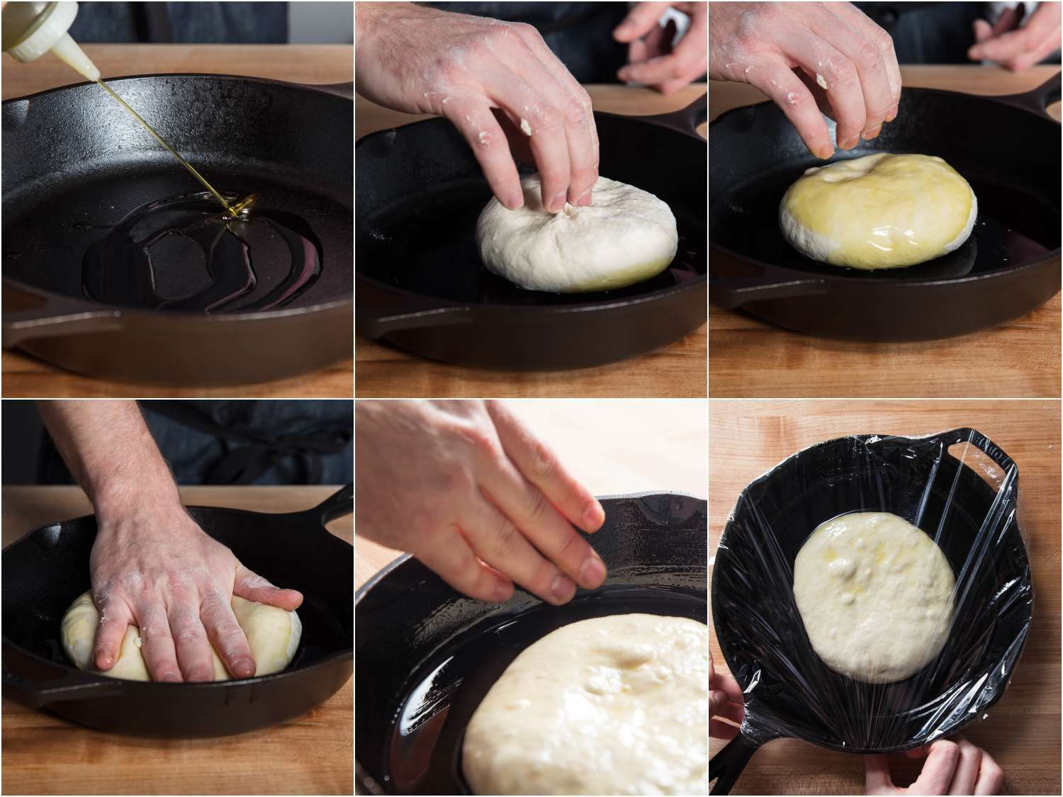 Collage depicting placing pan pizza dough in cast iron dough to proof