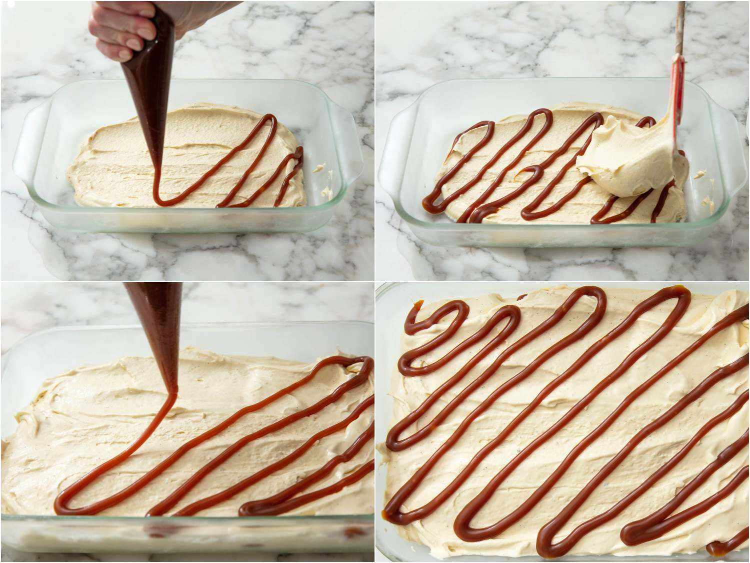 piping a caramel swirl into a dish of freshly churned ice cream