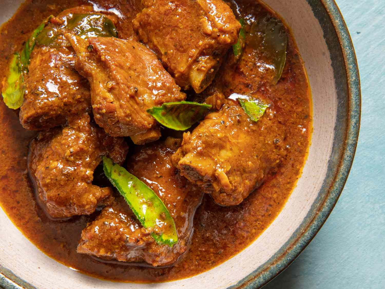 close up of Gaeng Khua Prik Si Krong Moo (Southern Thai Curry with Pork Ribs)