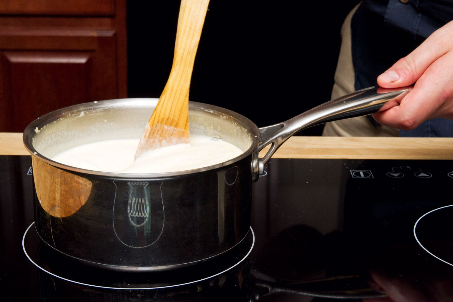 use a wooden spoon as mixture becomes custard