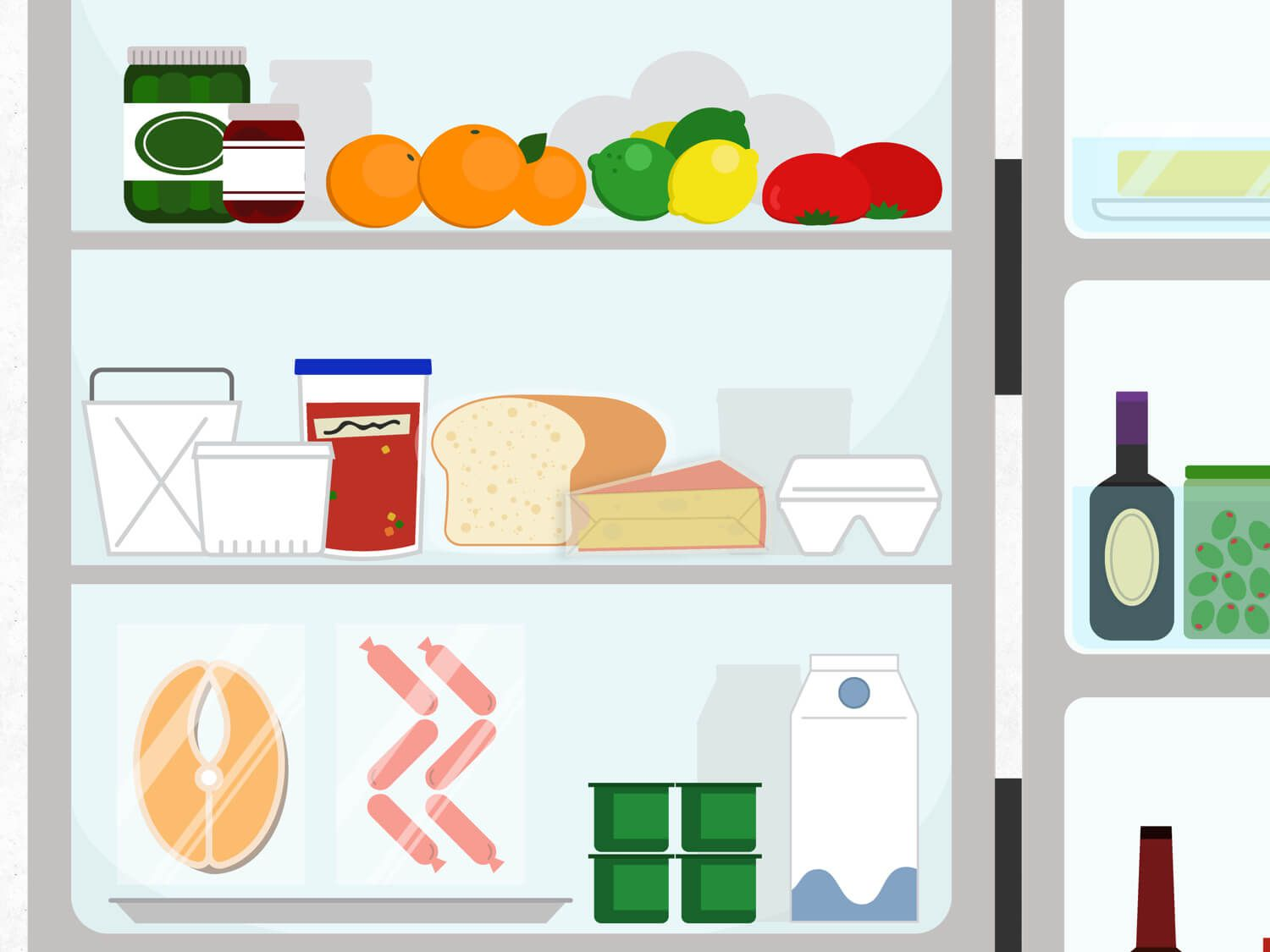Graphic illustration of the main, central shelves of a refrigerator with various items