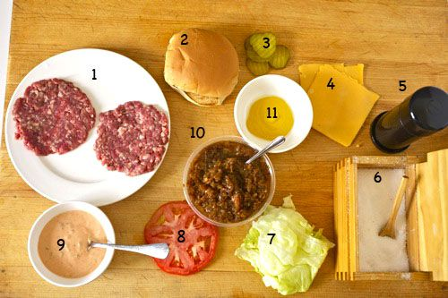 An overhead view of all of the components of a homemade Animal Style Double-Double burger from In-N-Out, with the ingredients numbered to correspond to the written list.