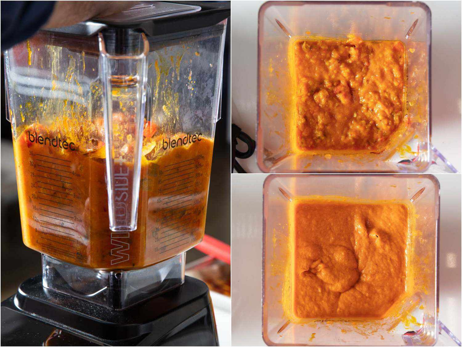 Obe ata can be blended smooth or left more chunky; here it is shown in a photo collage inside a blender jar at different consistency levels (very smooth and semi-chunky)