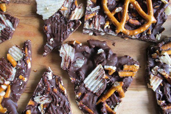 smoked salt, pretzel, and potato chip chocolate bark