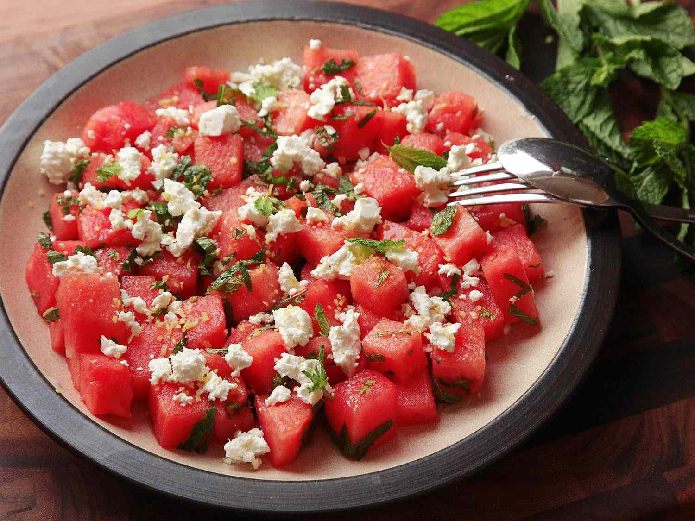 A ceramic dish of Watermelon, Feta, and Mint Salad