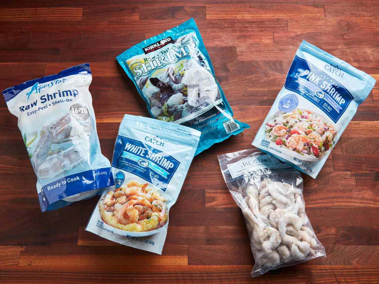 Variety of frozen shrimp brands