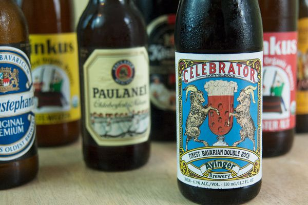 A collection of German beers on a table.