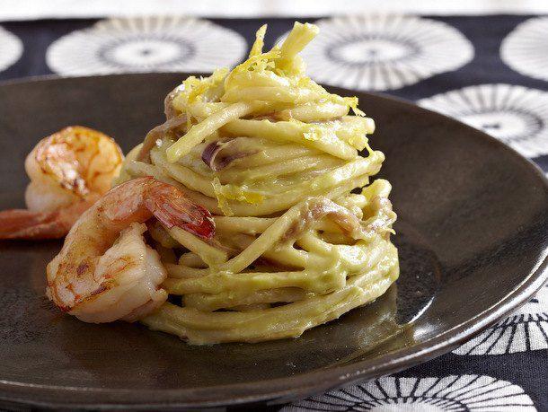Lemon-Avocado Spaghetti with Shrimp