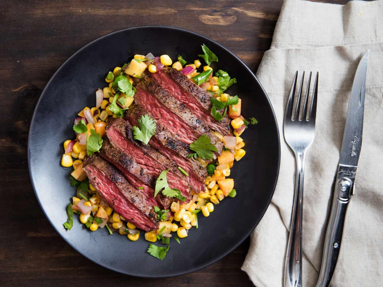 Skirt Steak With Warm Spicy Corn-and-Peach Salsa