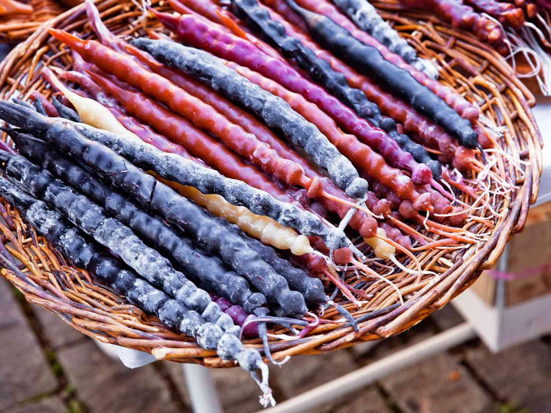 A basket of churchkhela, a Georgian confection made of grape juice and strands of walnuts.