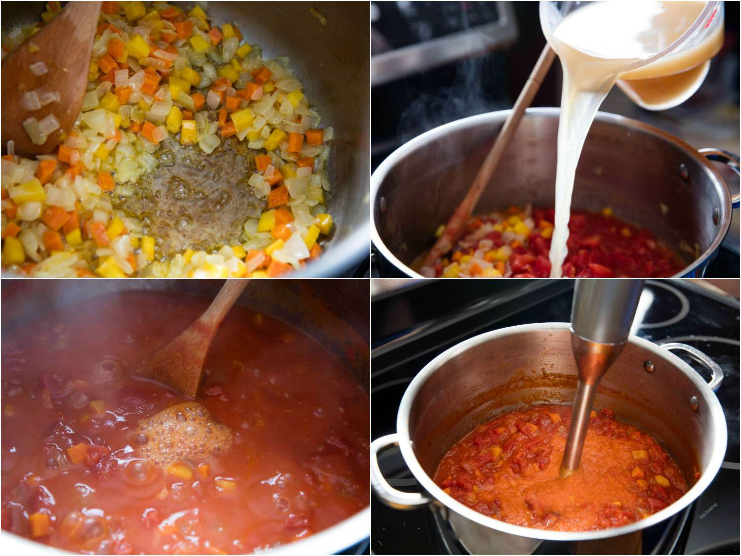 Collage of making tomato basil soup: sautéing vegetables in a pot, adding tomatoes and stock, stirring with a wooden soup, puréeing with an immersion blender