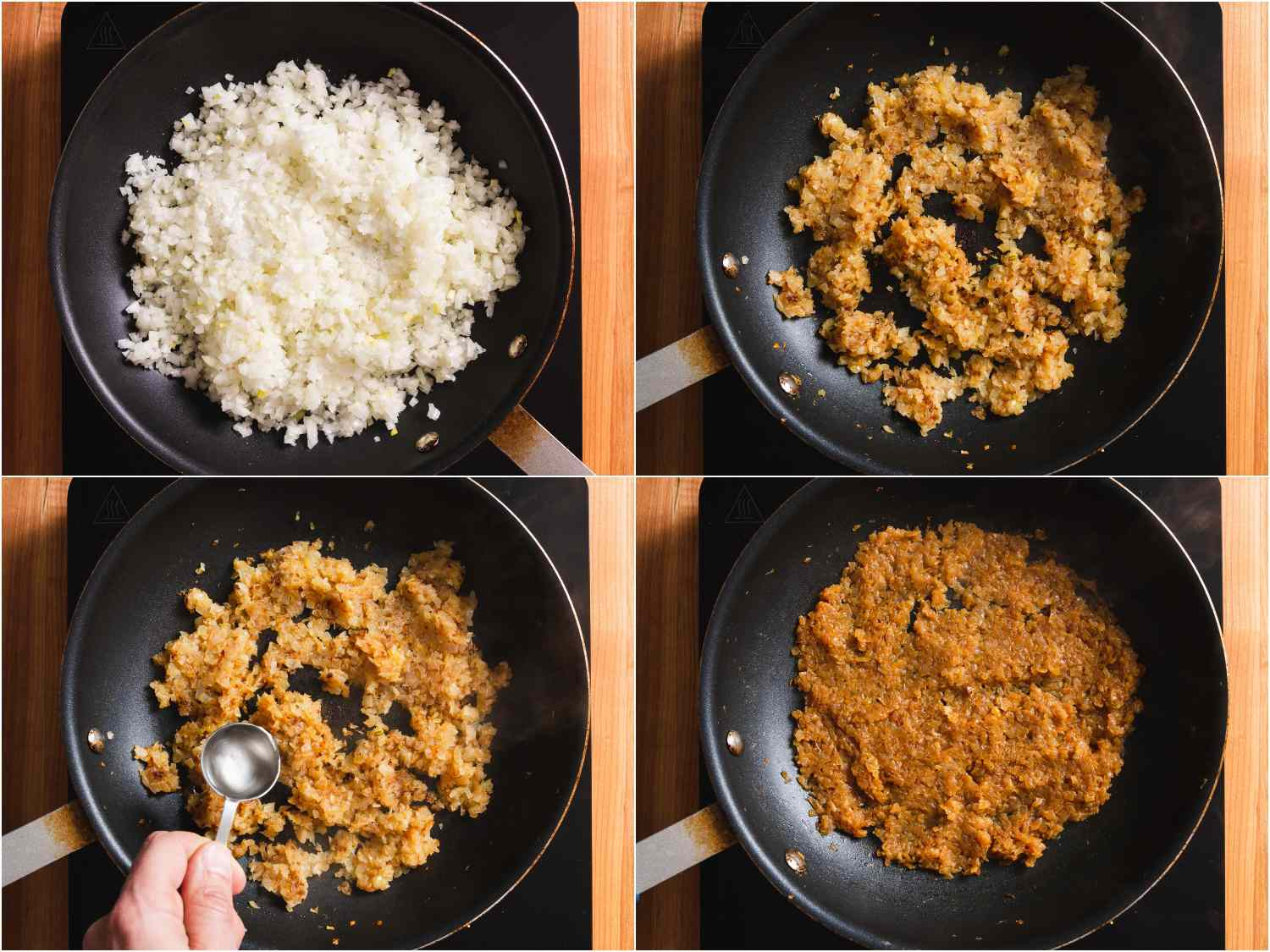 collage: caramelizing onions in a skillet