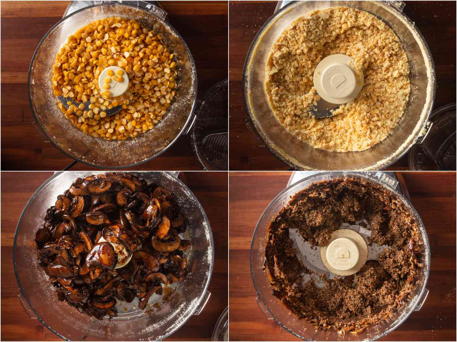 Collage of grinding pine nuts and mushrooms