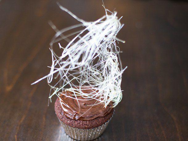 spun sugar on a cupcake