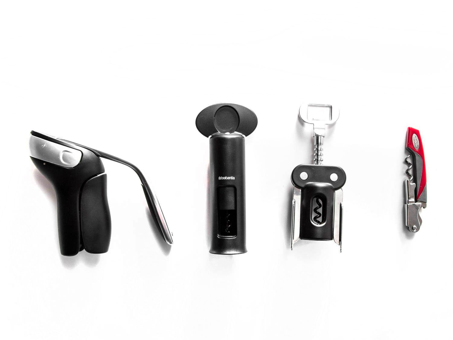 The four main styles of corkscrews we tested: lever, twist, winged, and waiter's friend