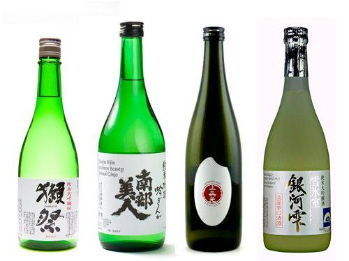 Four assorted bottles of ginjo sake.