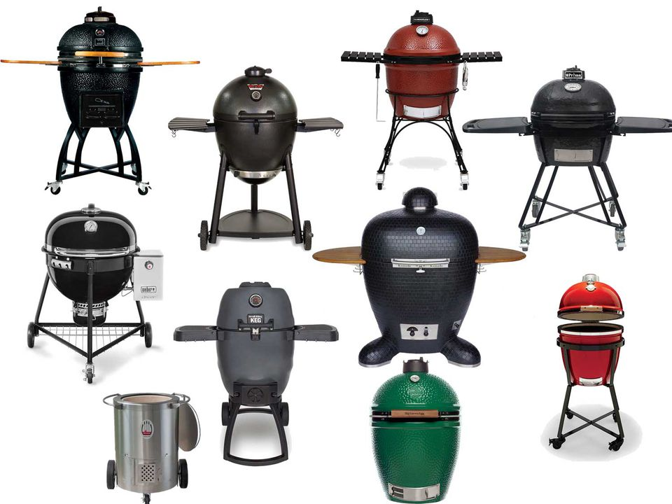 Collage of assorted kamado-style cookers/smokers