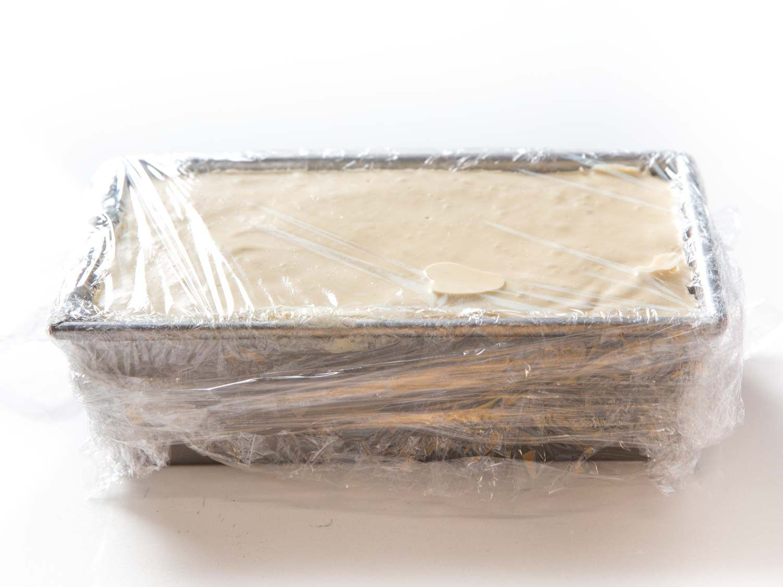 a fully wrapped loaf of semifreddo