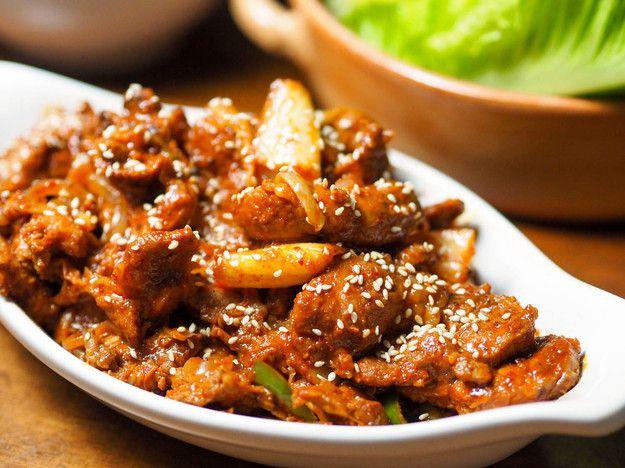 Korean Spicy Marinated Pork With Chilies and Kimchi (Jaeyook Kimchi Bokum)